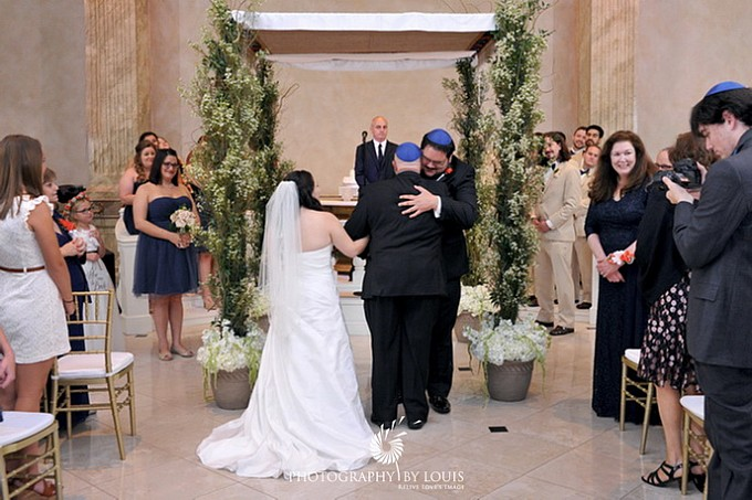 bride and groom at the chuppah
