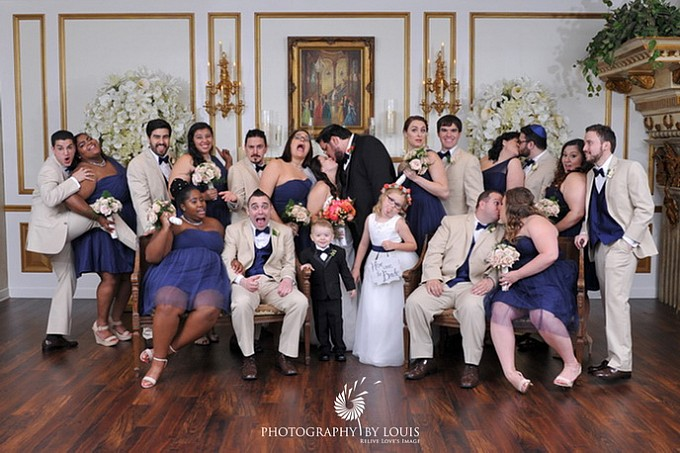 bridal party posed